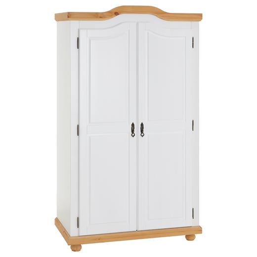 details sur armoire penderie avec 2 portes 1 etagere et 1 tringle en pin massif blanc brun
