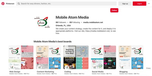 Screenshot of a Pinterest Page