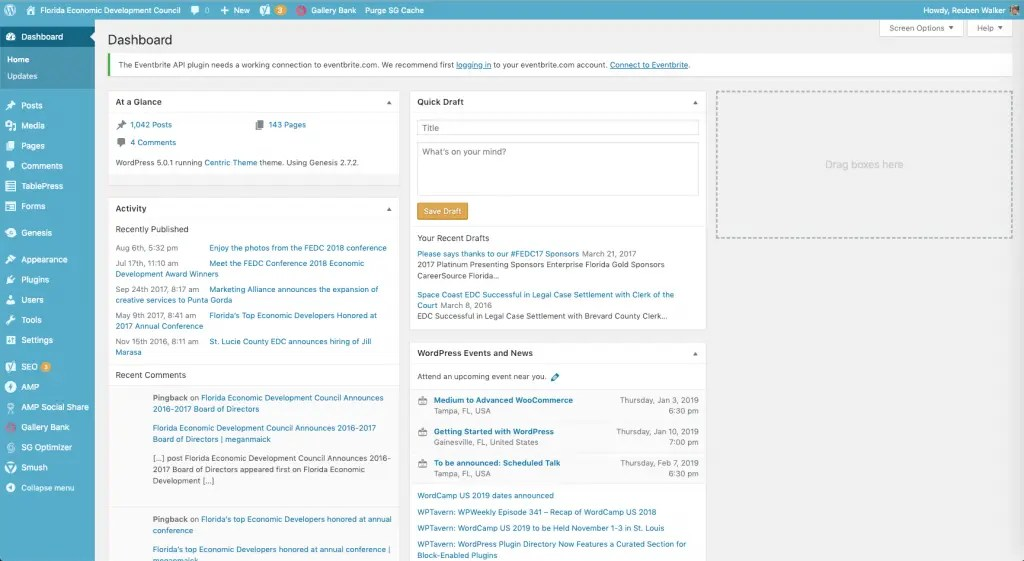 Image of wordpress.org dashboard