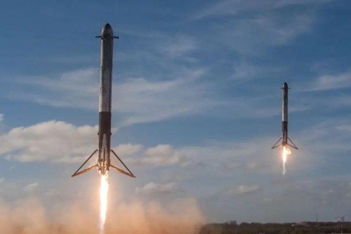 Photo of two SpaceX rockets landing representative of landing pages