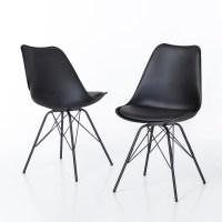 2er Set Stuhl Oslo Sitzschale in schwarz und Gestell in ...