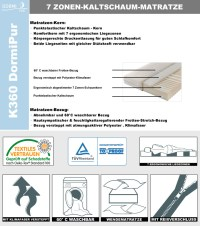 Kaltschaummatratze 7-Zonen DORMIPUR K360 140x200