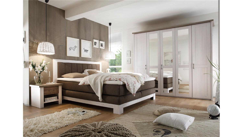 Schlafzimmer Set LUCA mit Boxspringbett NEVADA Pinie wei Trffel