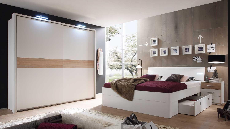 Schlafzimmer Set mit Kleiderschrank Victor 4 Bettanlage Mars wei