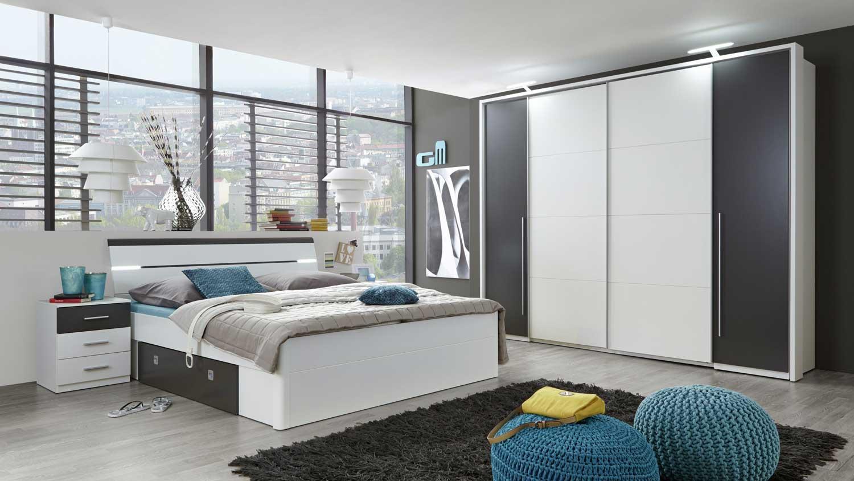 Schlafzimmer Set mit Kleiderschrank Match 2 Bettanlage Mars wei