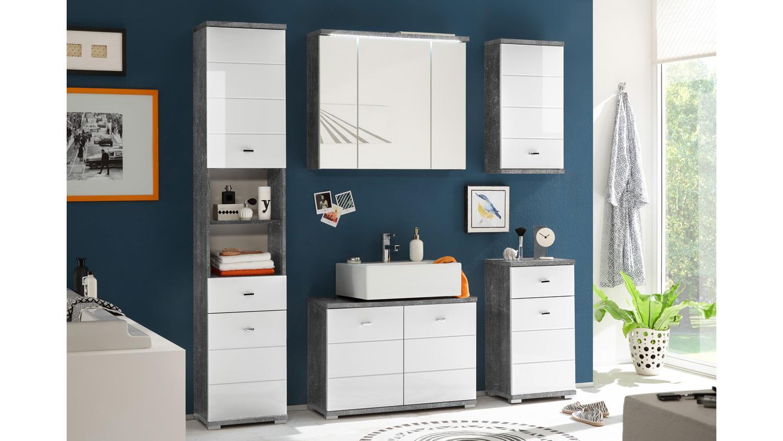 Kommode POOL Badezimmer Schrank in Beton grau und MDF wei mit 1 Tr