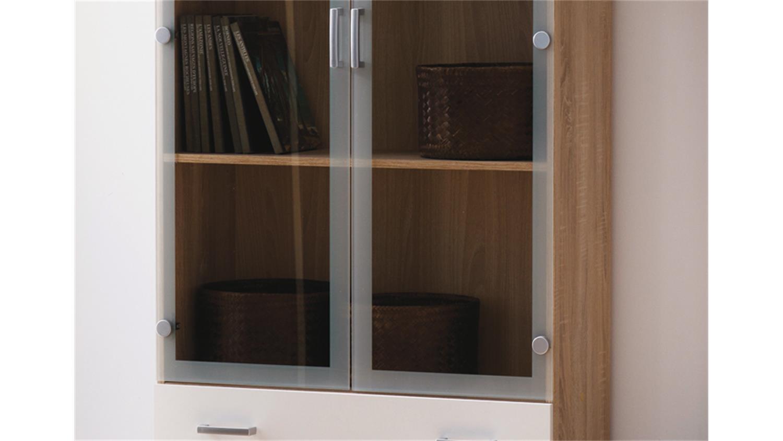 Vitrine SWIFT Schrank in Sonoma Eiche Dekor wei 2 Glastren