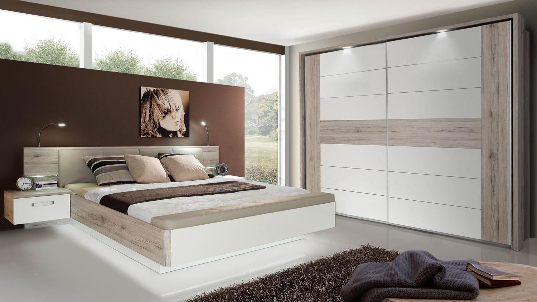 Schlafzimmer 1 RONDINO Komplettset in Sandeiche wei Hochglanz mit LED