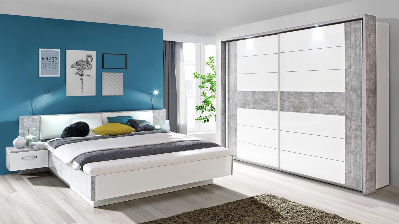 SchlafzimmerSet 1 RONDINO in Betonoptik und Wei mit LED