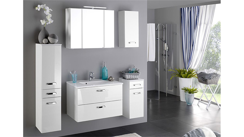 Badezimmer Set 1 BOLOGNA wei Hochglanz inkl Beleuchtung
