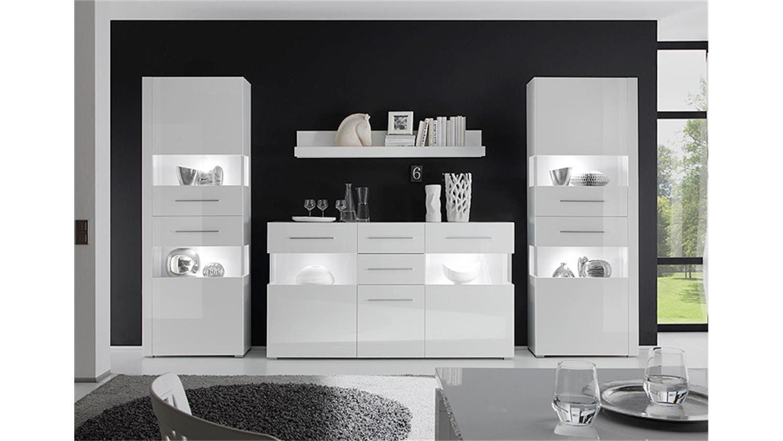 Wohnzimmermöbel Weiß Hochglanz