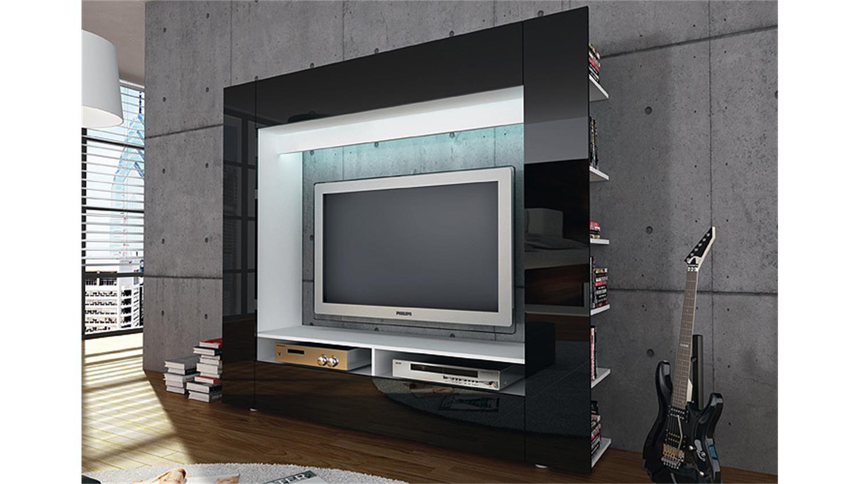 TV Wohnwand Medienwand Olli in Hochglanz schwarz