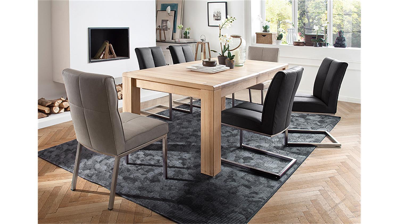 Esstisch ANTON Tisch Eiche Bianco massiv ausziehbar 180280