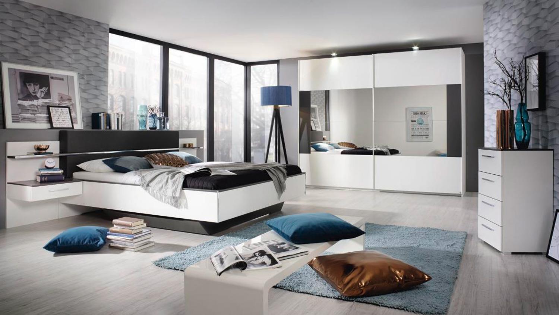 Schlafzimmer Set ELISSA Bett Nachttisch Schrank wei graphit mit LED