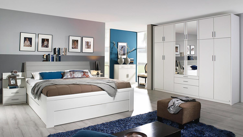 Schlafzimmer Set SCHWANDORF wei Bettanlage mit Schrank Hildesheim