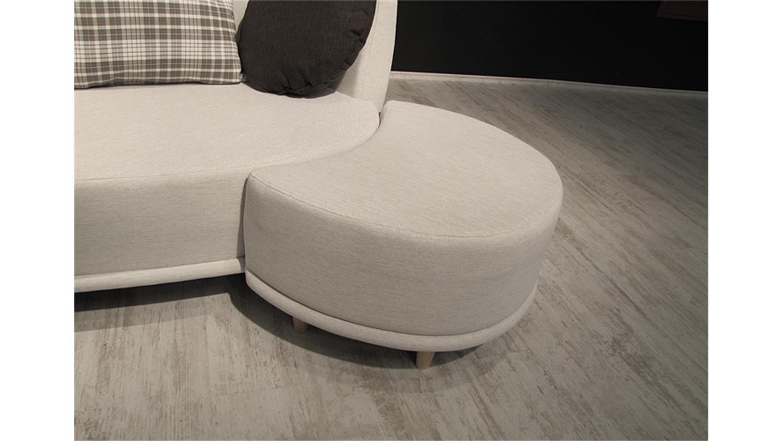 Sofa SONIA Beige mit Hocker und Kissen Braun 220cm breit