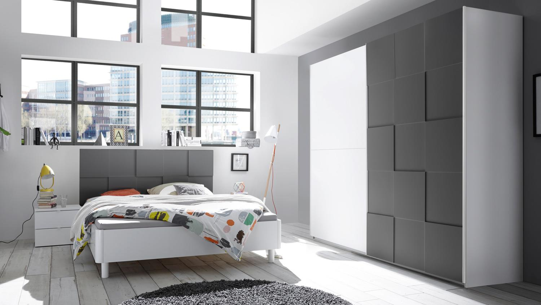 Schlafzimmer Set OTTICA wei anthrazit lackiert 3D Optik 160