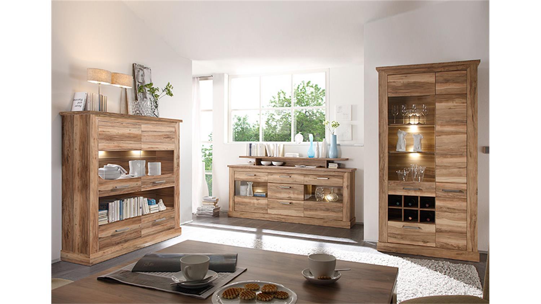 Wohnkombi MONTREAL Wohnzimmer Komplett In Nussbaum Satin