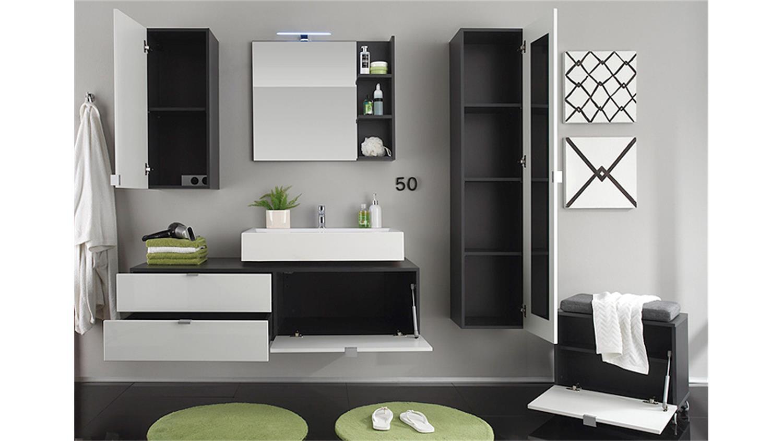 Badezimmer Set BEACH wei Hochglanz grau mit Waschbecken