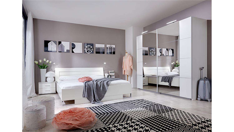 Schlafzimmer Set DAVOS wei mit Schwebetrenschrank 225cm