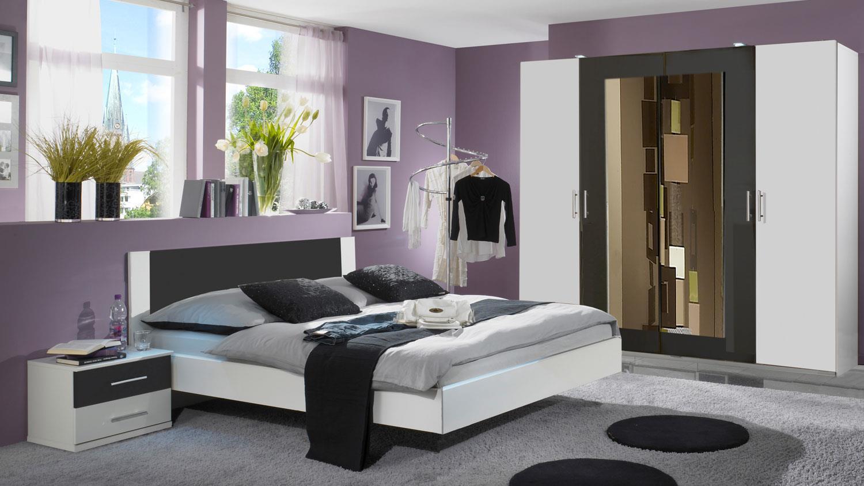 Schlafzimmer NORA in wei und anthrazit Doppelbett Kleiderschrank