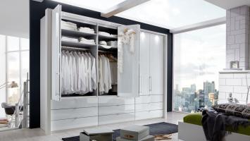 Kleiderschrank LOFT Schrank weiß Glas Gleittür 300 cm