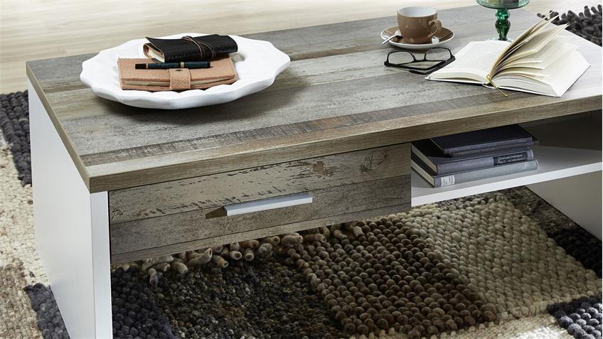 Couchtisch MATEO Beistelltisch Wohnzimmer wei und Driftwood 110x65 cm