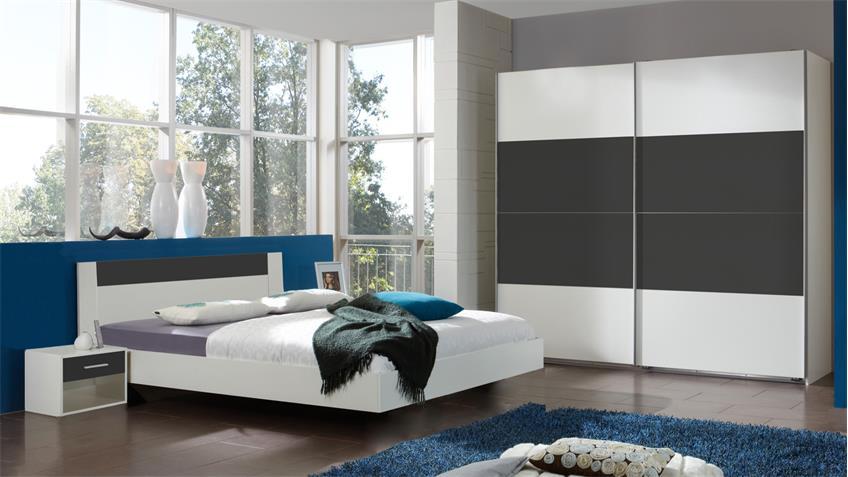 Schlafzimmer ILONA Alpinwei anthrazit Schwebetrenschrank