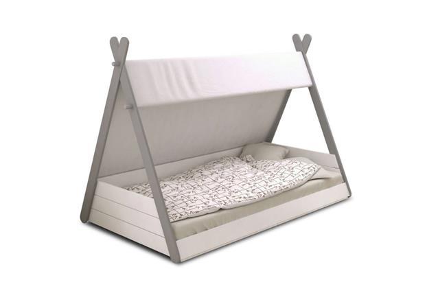 Kinderbett Tipi Bett Spielbett Kinderzimmer Perle wei und grau 90x200 cm  eBay