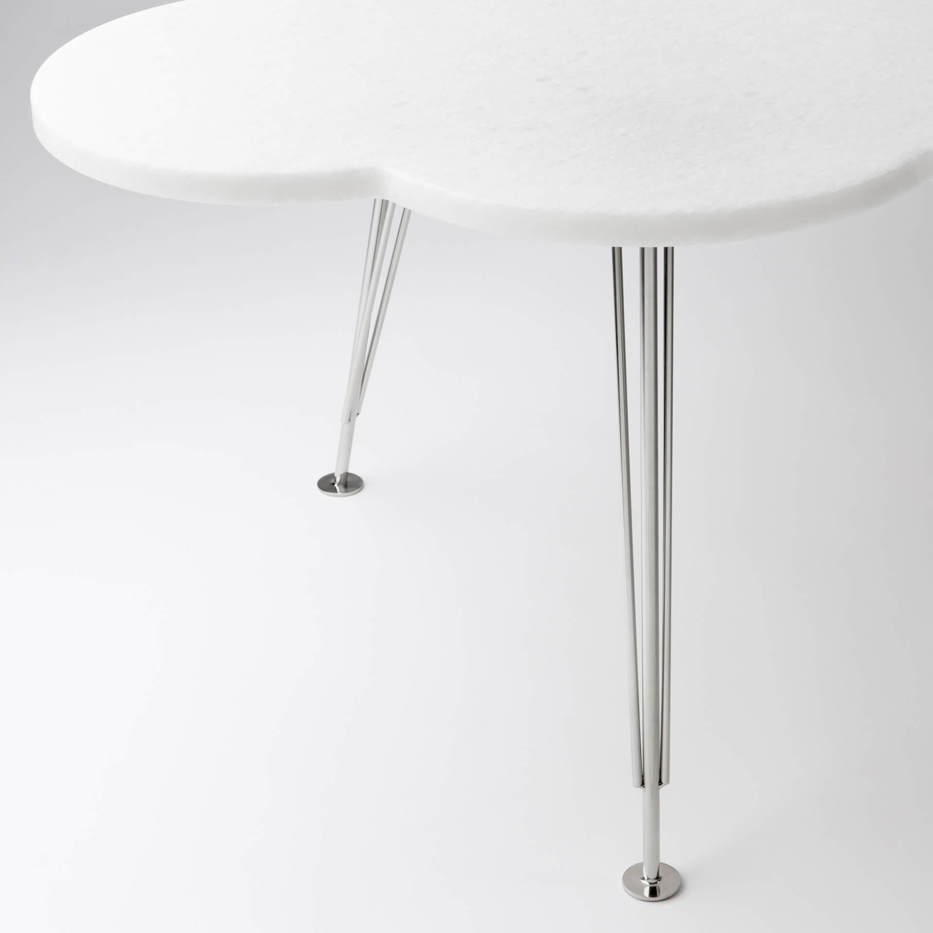 The Cloud Table – coffee table – marble bianco neve – steel legs – Molnbordet