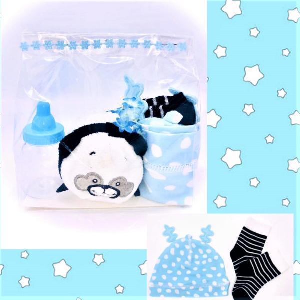Presentpåse: Gosedjur, bebismössa, bebisstrumpor, blomma, nappflaska dekoration