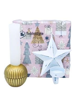 Presentpåsar julklapp - servett, ljus, stjärna