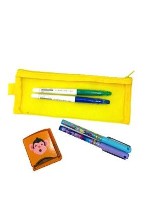 Pysssel: 4 pilot färgpennor, stämpeldyna, pennetui