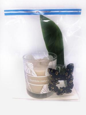 Presentpåse - Duni doftljus, hårsnodd, blad