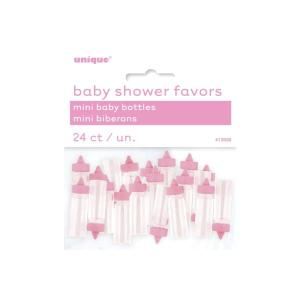 Babyshower pynt - 24 st mini baby bottles nappflaskor rosa