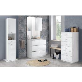 Main image of mobiletto da bagno, 3 scomparti,. Vittoria Componibile Bagno Bianco Lucido Misure 80x46x189 Cm Arredo Bagno Rzno