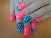 pink and teal nails - musely