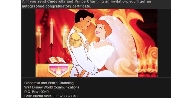 If You Send Cinderella Your Wedding Invitation Will Get An Autograph Congratulatory Certificate