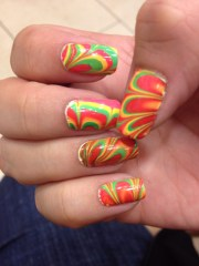 spring time water marble nails