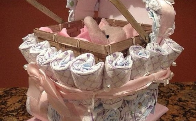 Diaper Carriage And Diaper Cake Unique Baby Shower Gifts