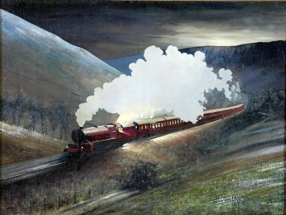 Oldham Eric Winter landscape with steam train pulling a