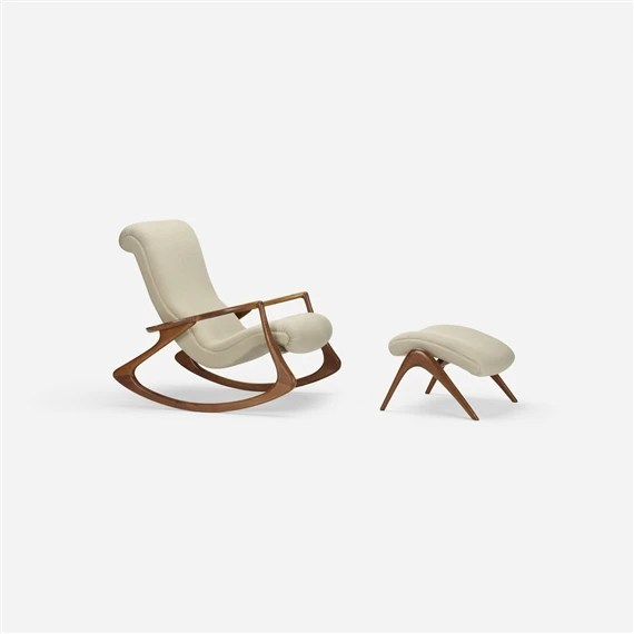 vladimir kagan rocking chair spandex covers ireland sculpted and ottoman circa 1953 artwork by made of walnut on upholstery