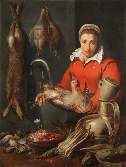 kitchen maid orlando hotels with kitchens snyders frans a holding cockerel game artwork by asparagus