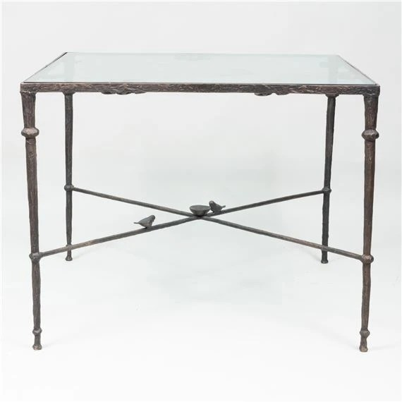 wrought iron and glass top table
