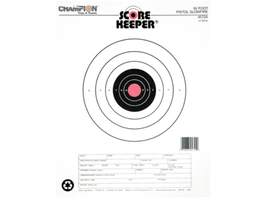 Champion Score Keeper 50 Ft Slow Fire Pistol Targets 11 x