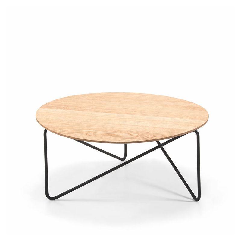 table basse plateau frene polygon prostoria pied noir