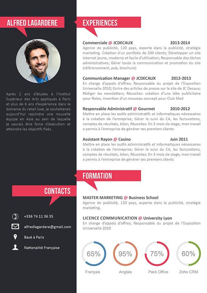 image telecharger modele cv word gratuit moderne lettre de presentation