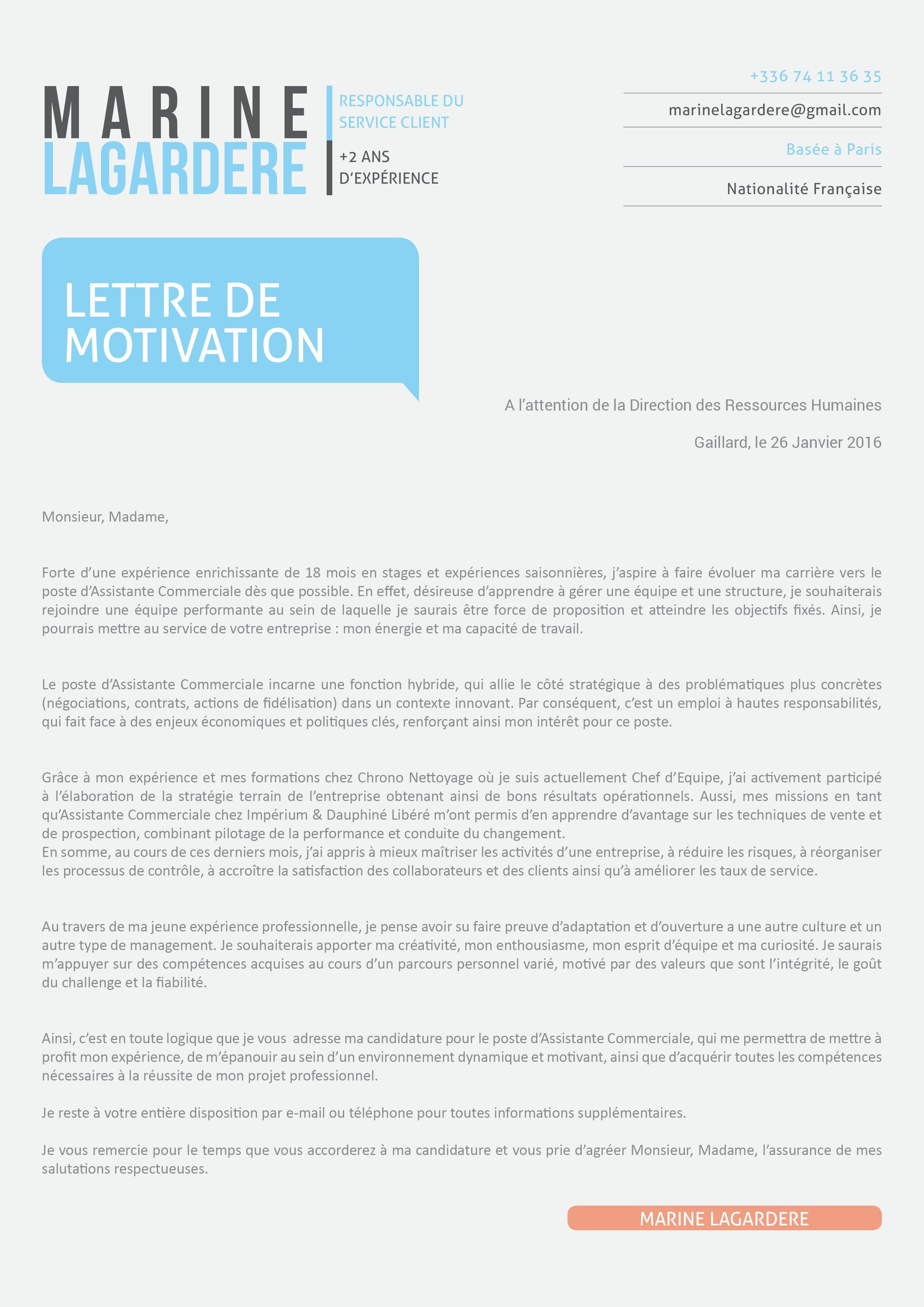 lettre de motivation et cv livre