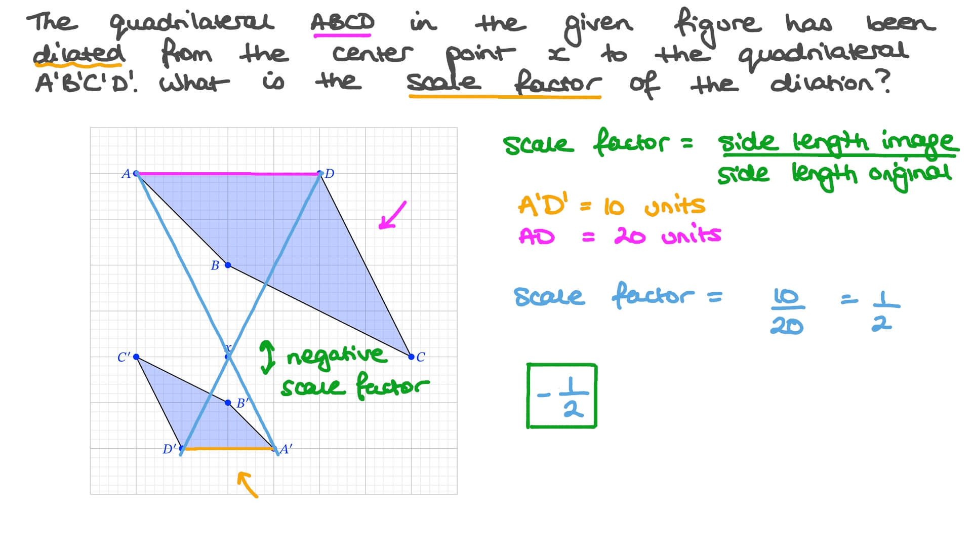 hight resolution of Question Video: Using Properties of Dilations or Enlargements to Identify a  Scale Factor   Nagwa