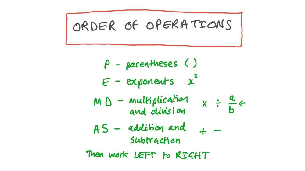 medium resolution of Lesson: Order of Operations: Evaluate Numerical Expressions   Nagwa